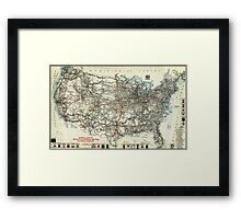AAA Map of transcontinental routes (1918) Framed Print