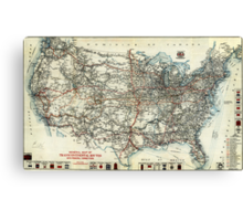 AAA Map of transcontinental routes (1918) Canvas Print