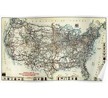 AAA Map of transcontinental routes (1918) Poster