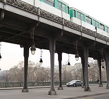 Paris - Bir-Hakeim bridge with metro by Caroline Clarkson