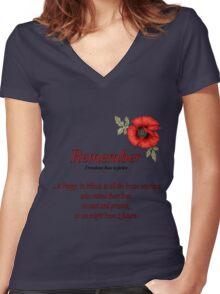 Remember Veterans Poppy Women's Fitted V-Neck T-Shirt