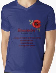 Remember Veterans Poppy Mens V-Neck T-Shirt