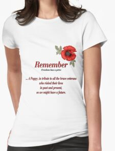 Remember Veterans Poppy Womens Fitted T-Shirt
