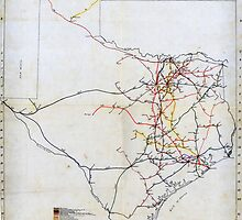 Bissell's railway junction map of Texas (1891) by Adam Asar