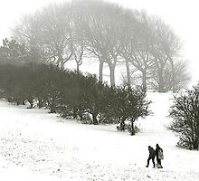 Sledgers climbing Liddington Hill by David Harrison