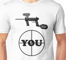 Paintball. Gun Sight on You. BL. Unisex T-Shirt