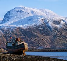 Ben Nevis and Old Fishing Boat by jacqi
