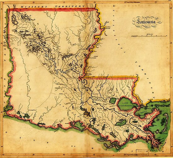 Carey's Map of Louisiana in 1814 by Adam Asar