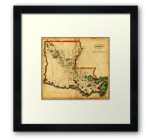 Carey's Map of Louisiana in 1814 Framed Print