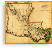 Carey's Map of Louisiana in 1814 Canvas Print