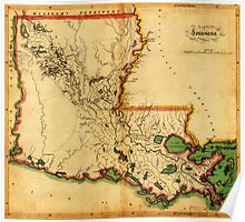 Carey's Map of Louisiana in 1814 Poster