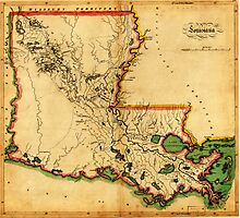 Carey's Map of Louisiana in 1814 Photographic Print