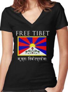 FREE TIBET Women's Fitted V-Neck T-Shirt