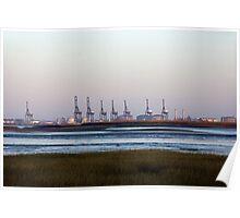 London Thamesport Gantry Cranes Poster