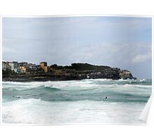 Surfers still charging hectic swell. Poster
