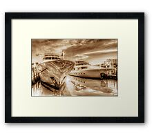 Yachts docked at the Atlantis Marina in Paradise Island, The Bahamas Framed Print
