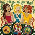 'Three Girlfriends Celebrate'  by Lisa Frances Judd~QuirkyHappyArt