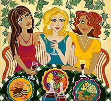 'Three Girlfriends Celebrate'  by Lisa Frances Judd ~ QuirkyHappyArt