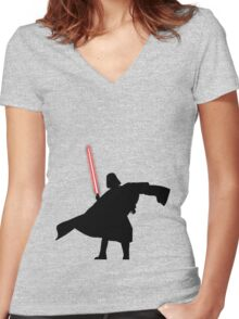 Darth Vader shadow style Women's Fitted V-Neck T-Shirt