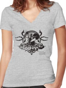 Spartan - Black with MOLΩN LABE text (below) Women's Fitted V-Neck T-Shirt