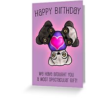 Pugs love birthdays Greeting Card