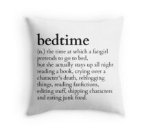 bedtime meaning to a fingirl #books version Throw Pillow