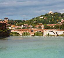 Panoramic view of Ponte Pietra in Verona by kirilart