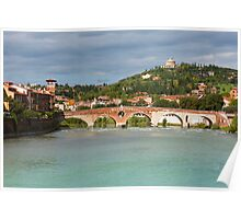 Panoramic view of Ponte Pietra in Verona Poster
