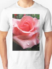 Pink Rose with Dew  T-Shirt