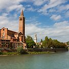Panoramic view of Dominican church of Sant'Anastasia in Verona by kirilart