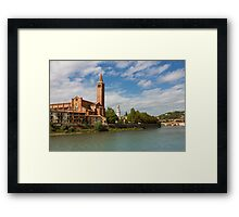 Panoramic view of Dominican church of Sant'Anastasia in Verona Framed Print