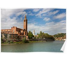 Panoramic view of Dominican church of Sant'Anastasia in Verona Poster