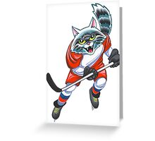 Cat  hockey player Greeting Card