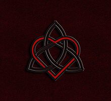 Celtic Knot Valentine Heart Red Leather by Brian Carson