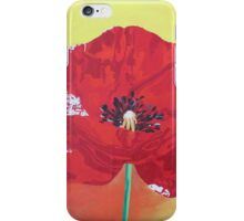 Single Stem Poppy On Red Green And Orange Background iPhone Case/Skin