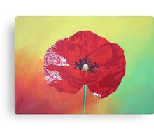 Single Stem Poppy On Red Green And Orange Background Canvas Print