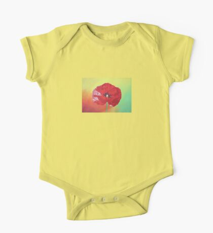 Single Stem Poppy On Red Green And Orange Background One Piece - Short Sleeve