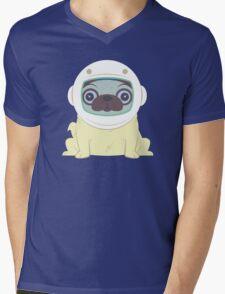 Pug in Space Mens V-Neck T-Shirt