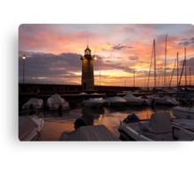 Desenzano del Garda Marina Old Lighthouse Sunrise Canvas Print