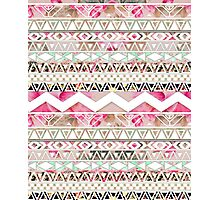 Girly Pink White Floral Abstract Aztec Pattern Photographic Print