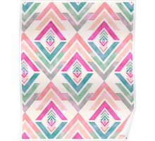 Girly Pink Turquoise Abstract Diamond Triangles Poster