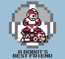 Red Megaman Riding Jet Rush (Black Text) Kids Clothes