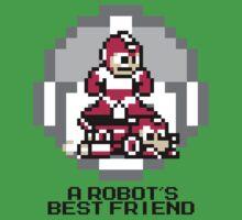 Red Megaman Riding Jet Rush (Black Text) Kids Tee