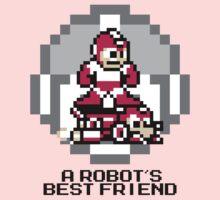 Red Megaman Riding Jet Rush (Black Text) Baby Tee