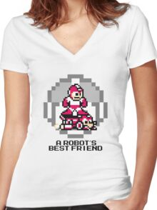 Red Megaman Riding Jet Rush (Black Text) Women's Fitted V-Neck T-Shirt