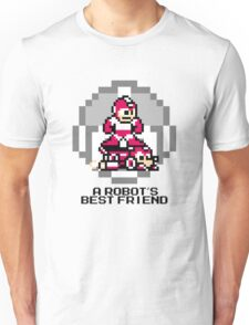 Red Megaman Riding Jet Rush (Black Text) Unisex T-Shirt