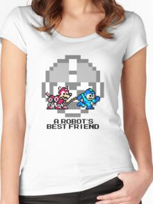 Megaman walking Rush (Black Text) Women's Fitted Scoop T-Shirt