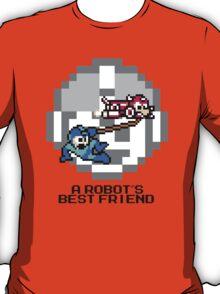 Rush dragging Megaman (Black Text) T-Shirt