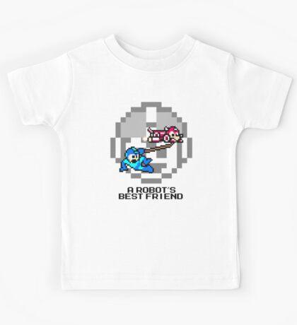 Rush dragging Megaman (Black Text) Kids Tee