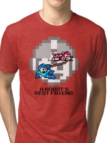 Rush dragging Megaman (Black Text) Tri-blend T-Shirt